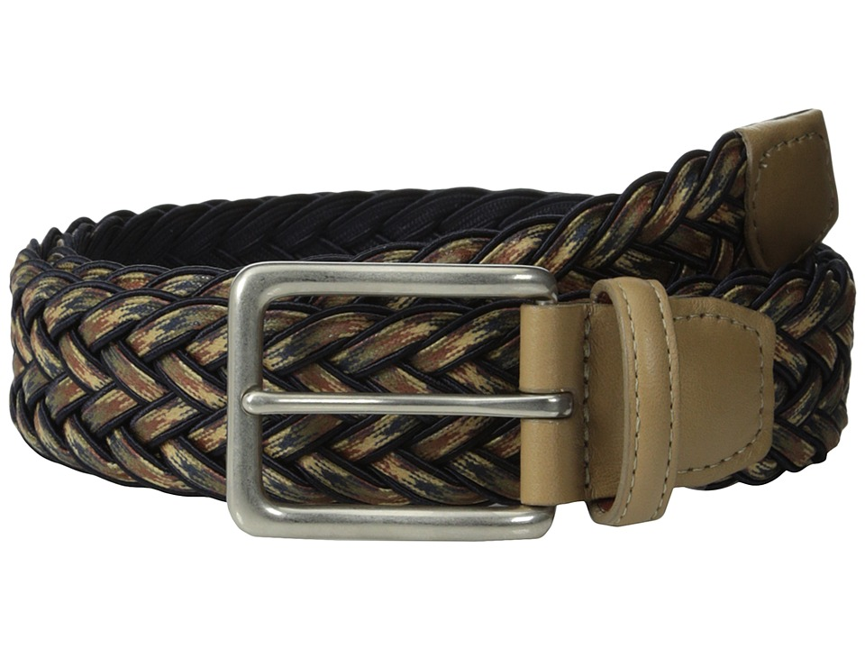 Torino Leather Co. - 35mm Multi Woven Wax Cotton w/ Matte Nickel (Navy/Multi) Men's Belts