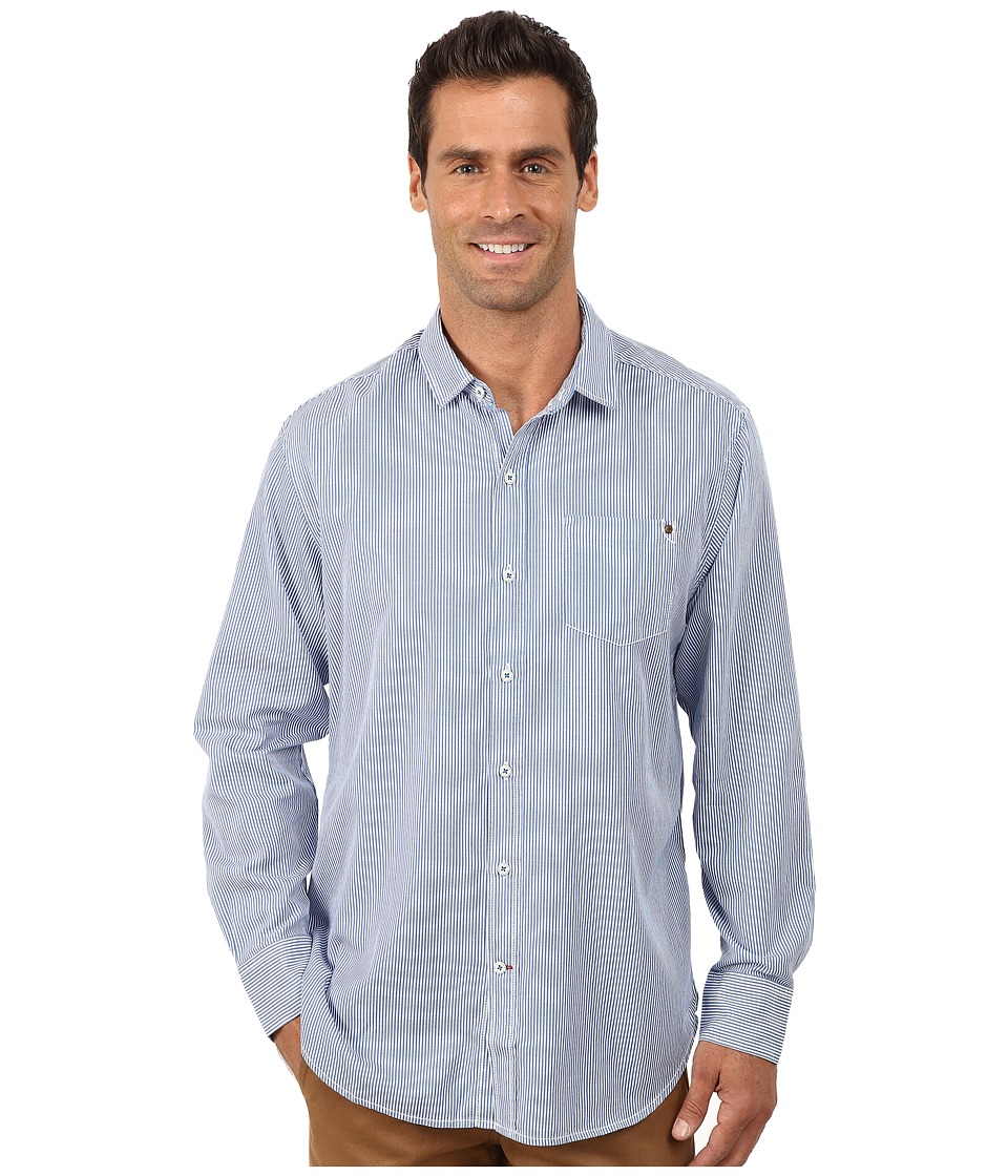 Tommy Bahama - Twill Light Stripe Long Sleeve (Grecian Blue) Men's Clothing