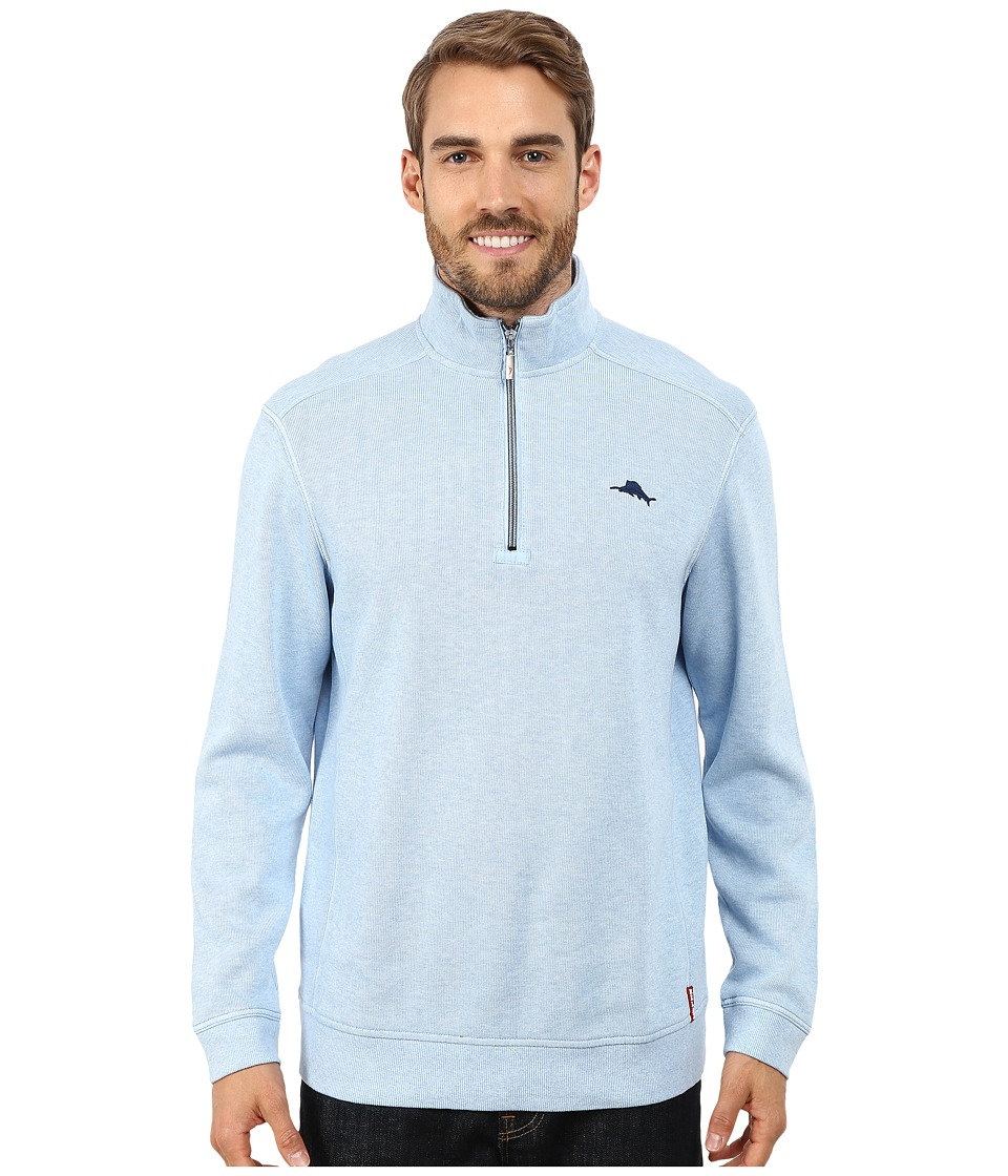 Tommy Bahama - Antigua Half Zip Sweatshirt (Dusk Blue Heather) Men's Sweatshirt