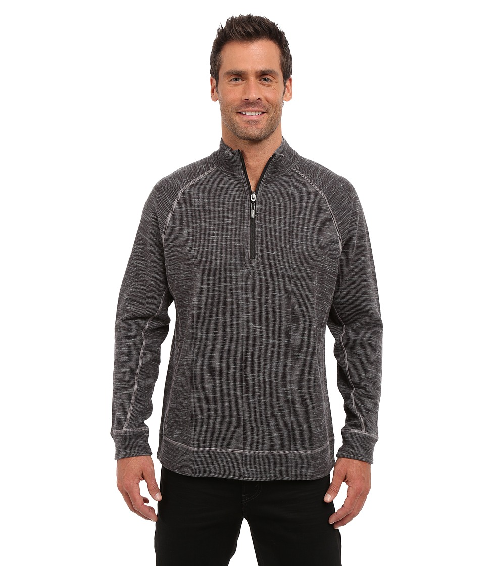 Tommy Bahama - Reversible Slubtropics Zip (Black Heather) Men's Clothing