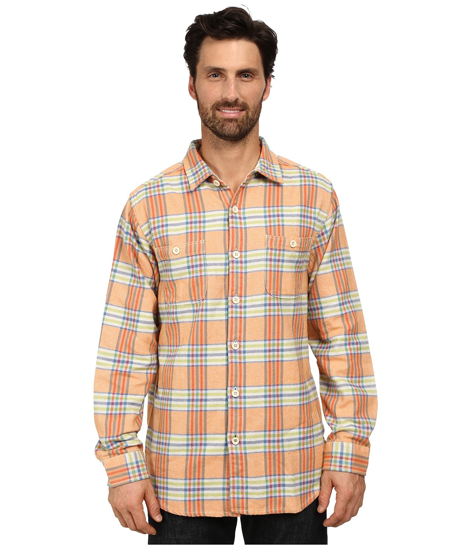 Tommy Bahama - Flannel Time! Plaid Long Sleeve (Bright Apricot) Men's Long Sleeve Button Up