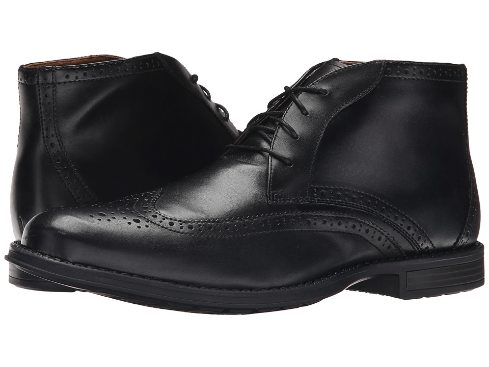 Nunn Bush - Rawson Wing Tip Chukka (Black) Men's Dress Lace-up Boots