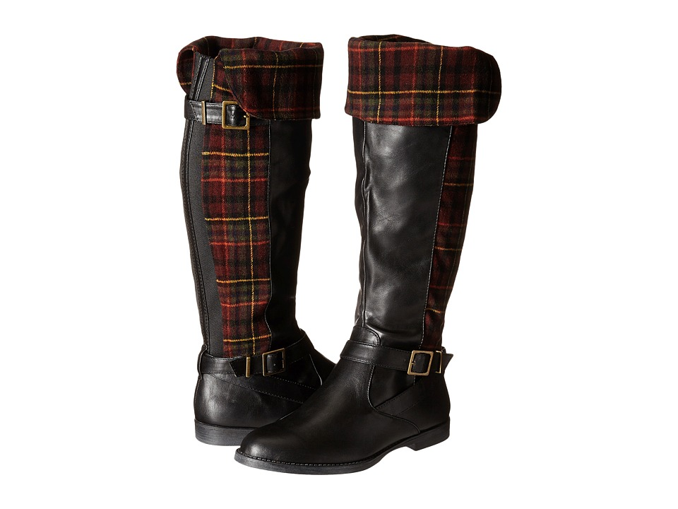 Bella-Vita - Romy II (Black/Burgundy Plaid Flannel) Women's Zip Boots