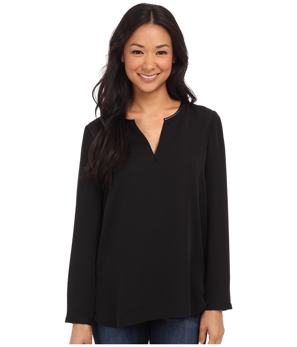 NIC+ZOE - Trimmed Tone Shirt (Black Onyx) Women