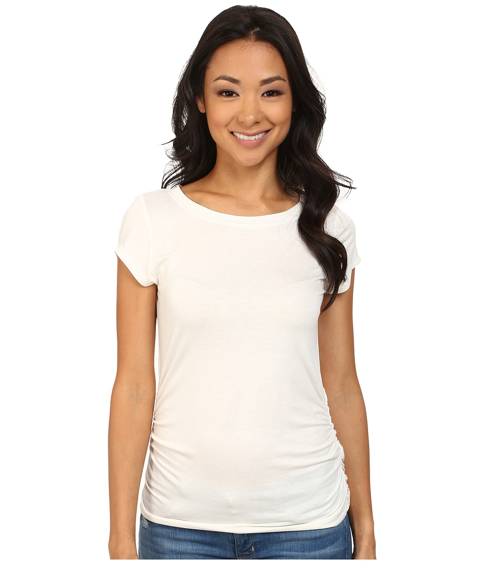 Nally & Millie - Ruched Cap Sleeve Top (Cream) Women's Clothing