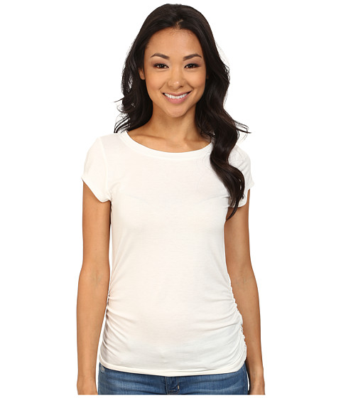 Nally & Millie - Ruched Cap Sleeve Top (Cream) Women