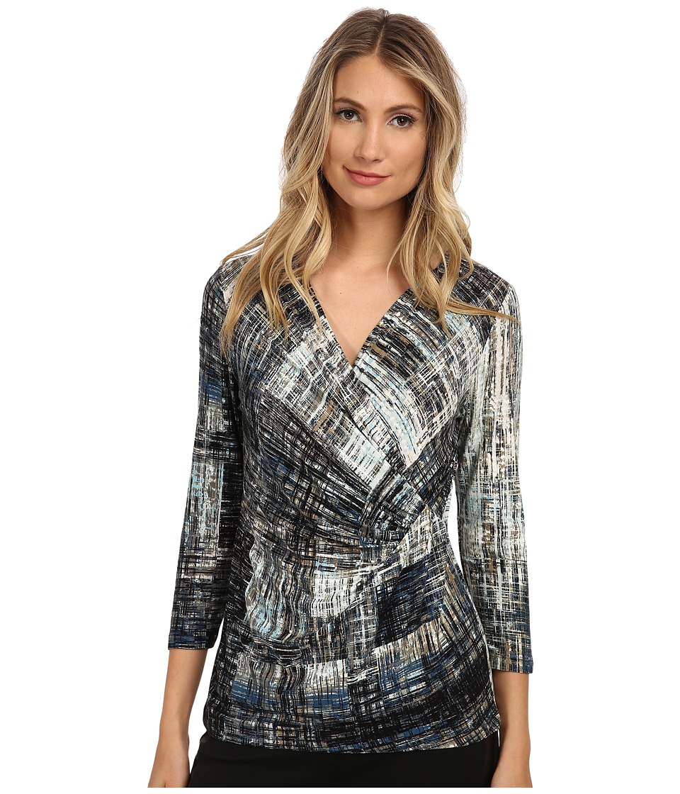 NIC+ZOE Lush Lapis Wrap Top (Multi) Women