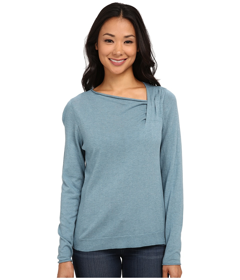NIC+ZOE - Over The Moon Top (Stone Blue Heather) Women's Long Sleeve Pullover