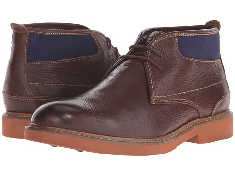 Florsheim - Bucktown Chukka Boot (Brown Milled Leather/Navy Canvas) Men's Boots