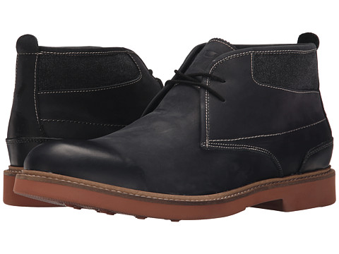 Florsheim - Bucktown Chukka Boot (Black Crazy Horse Leather/Charcoal Canvas) Men's Boots