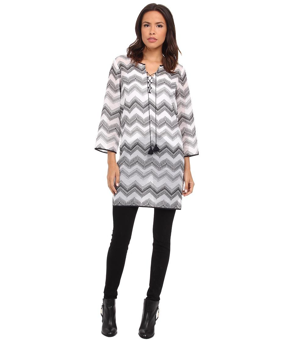 NIC+ZOE - Zig Zag Tunic (Paper White) Women's Long Sleeve Pullover