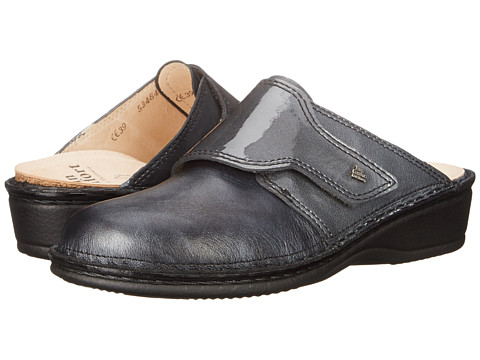 Finn Comfort - Aussee-S (Negro Oxide/Stone Patent) Women's Slip on Shoes