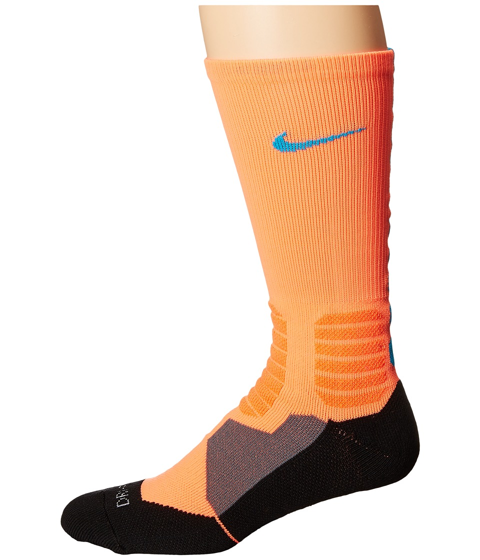 Nike - Hyperelite Basketball Crew (Hyper Orange/Blue Lagoon/Blue Lagoon) Men's Crew Cut Socks Shoes