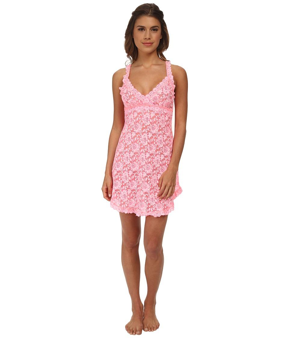 Hanky Panky - Cross Dyed Signature Lace Chemise (Peach Fizz/White) Women's Lingerie plus size,  plus size fashion plus size appare