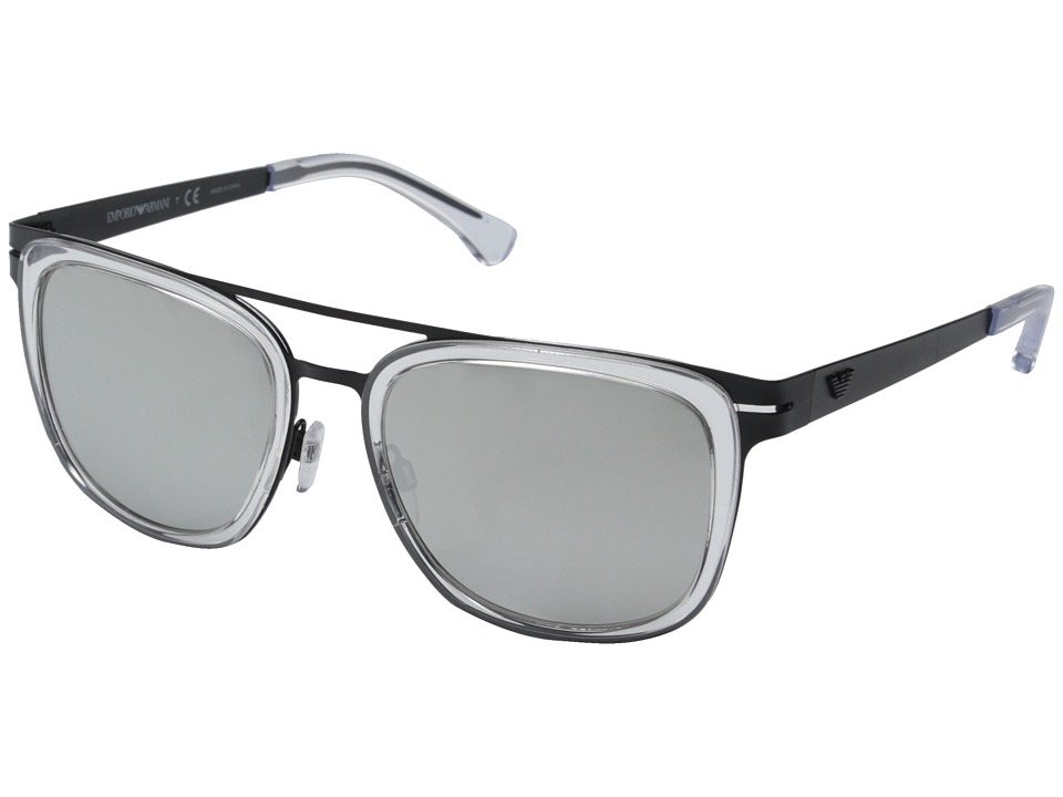Emporio Armani - EA2030 (Matte Black Crystal/Mirror Silver) Fashion Sunglasses