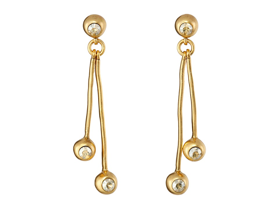Oscar de la Renta - Ball and Crystal Linear Drop Earrings (Cry Gold Shadow) Earring