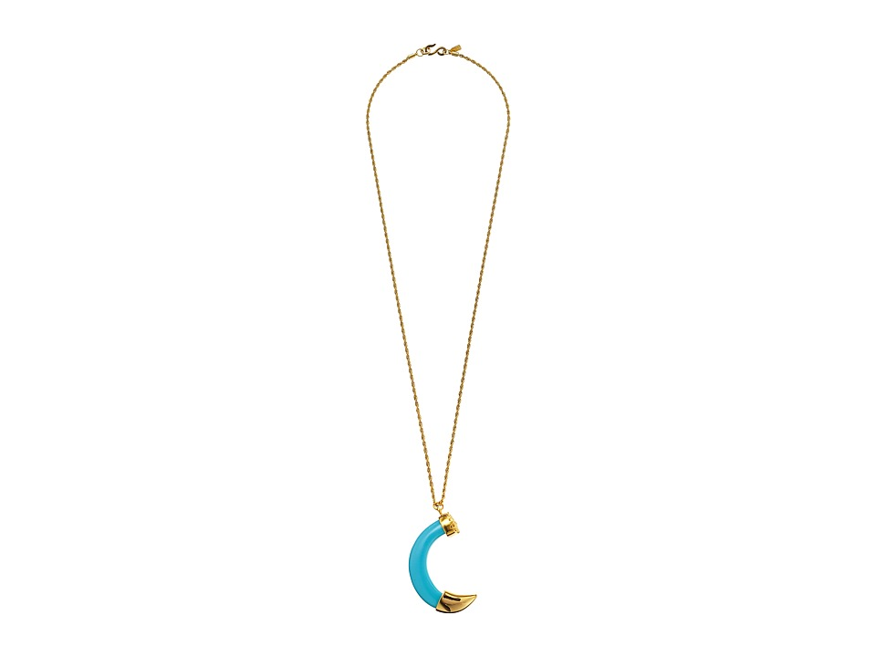 Kenneth Jay Lane - Large Tusk w/ Gold Tip Pendant Necklace (Turquoise) Necklace