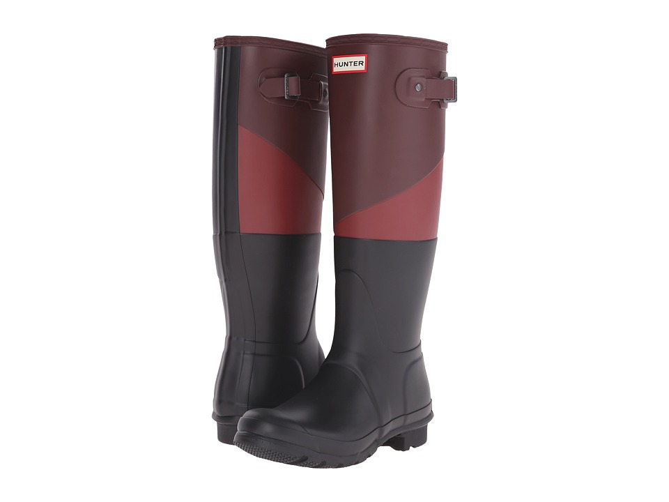 Hunter - Asymmetric Colour Block (Umber/Lava Red/Black) Women's Rain Boots
