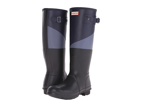 Hunter - Asymmetric Colour Block (Midnight/Mineral Blue/Black) Women's Rain Boots