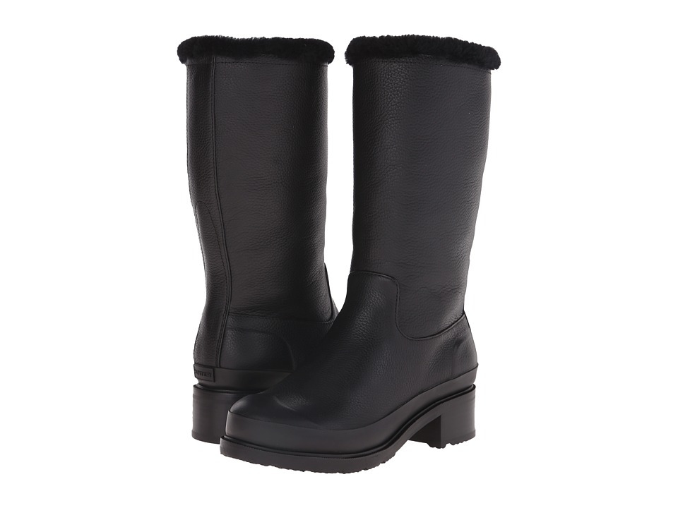 Hunter - Original Shearling Lined Leather Pull On Boot (Black) Women's Pull-on Boots