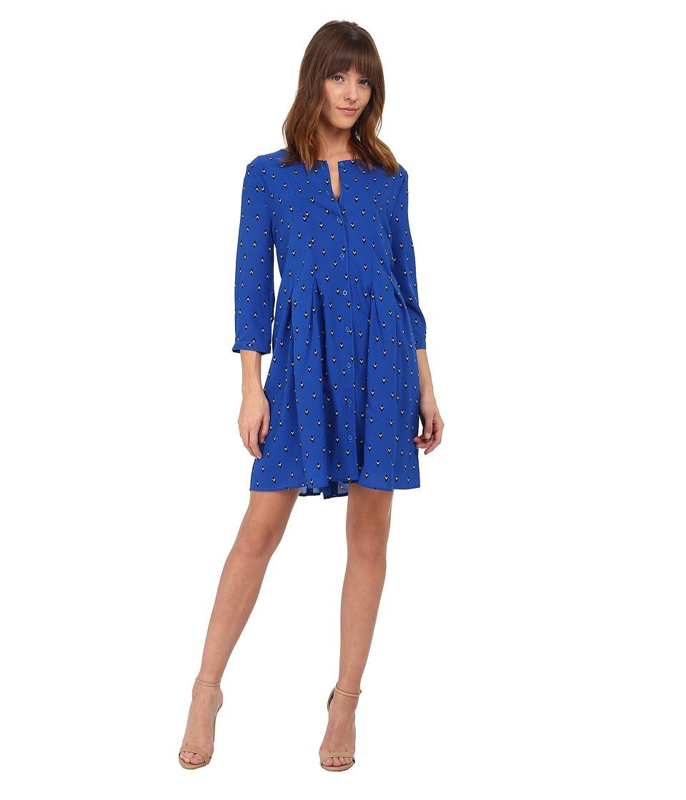 Jack by BB Dakota - Daryn Arrowhead Printed Poly Crepe Dress (Strong Blue) Women