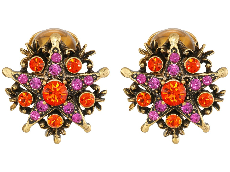 Oscar de la Renta - Crystal Stars Earrings (Persimmon) Earring