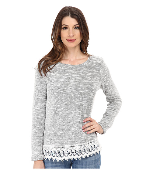 Jack by BB Dakota - Rufio Light French Terry and Crochet Trim Long Sleeve Top (Heather Grey) Women's Long Sleeve Pullover