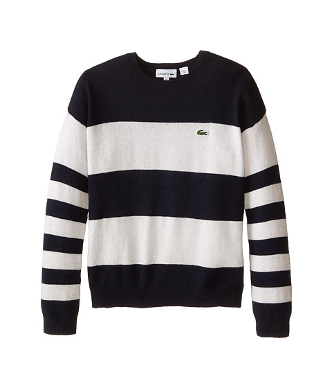 Lacoste Kids - Bold Stripe Crew Neck Sweater (Infant/Toddler/Little Kids/Big Kids) (Navy Blue/Fieldmouse Chine) Girl's Sweater