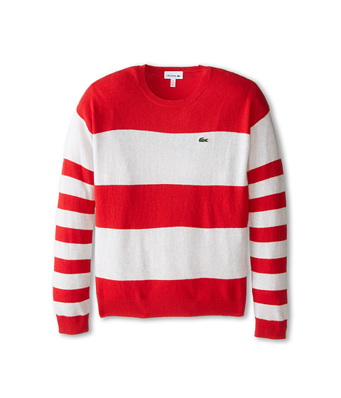Lacoste Kids - Bold Stripe Crew Neck Sweater (Infant/Toddler/Little Kids/Big Kids) (Goji Red/Fieldmouse Chine) Girl