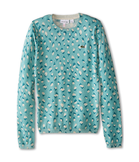 Lacoste Kids - All Over Leopard Print Crew Neck Sweater (Toddler/Little Kids/Big Kids) (Thunder/Multicolor) Girl's Sweater