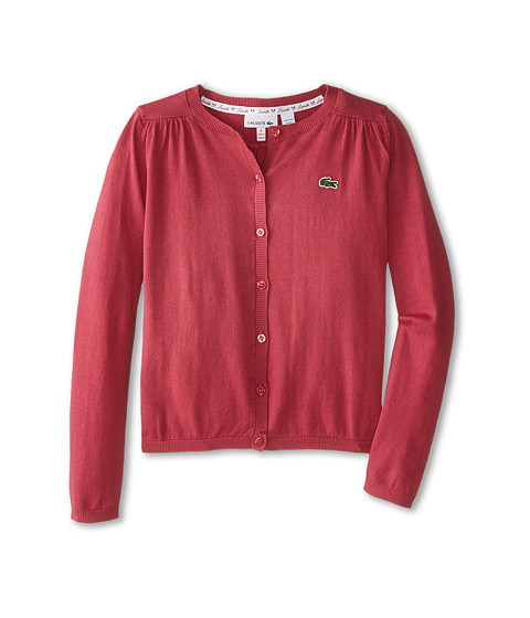 Lacoste Kids - Cotton Wool Cardigan (Infant/Toddler/Little Kids/Big Kids) (Tartine Pink) Girl's Sweater