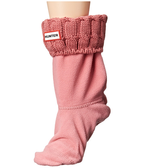 Hunter - 6 Stitch Cable Boot Sock - Short (Rhodonite Pink) Women's Crew Cut Socks Shoes