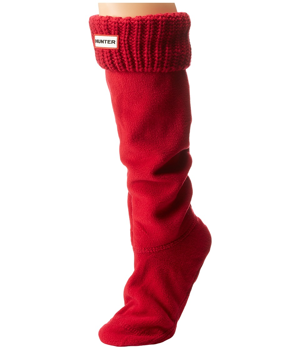 Hunter - Half Cardigan Boot Socks (Red) Women's Crew Cut Socks Shoes