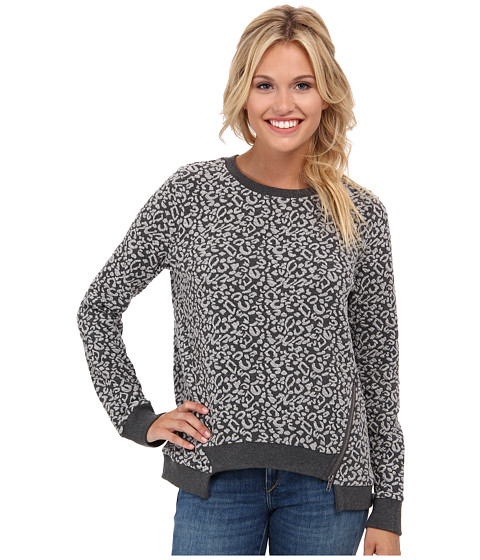 Jack by BB Dakota - Nell Animal Patterned Jacquard Top (Dark Charcoal) Women's Long Sleeve Pullover