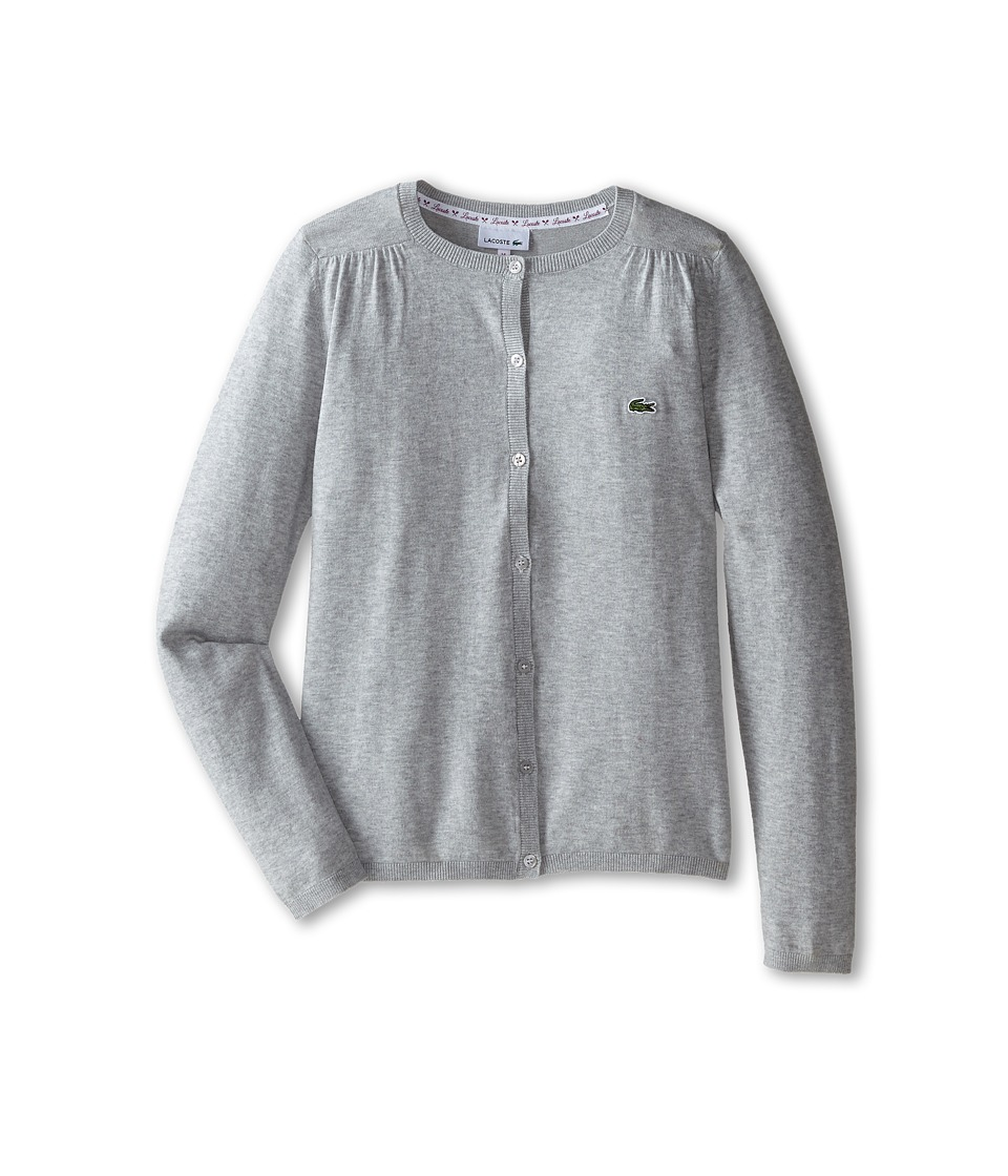Lacoste Kids - Cotton Wool Cardigan (Infant/Toddler/Little Kids/Big Kids) (Silver Grey Chine) Girl's Sweater