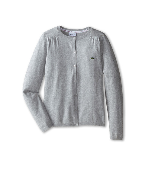 Lacoste Kids - Cotton Wool Cardigan (Infant/Toddler/Little Kids/Big Kids) (Silver Grey Chine) Girl