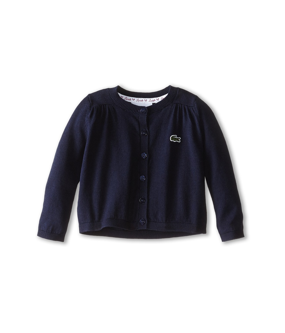 Lacoste Kids - Cotton Wool Cardigan (Infant/Toddler/Little Kids/Big Kids) (Navy Blue) Girl's Sweater