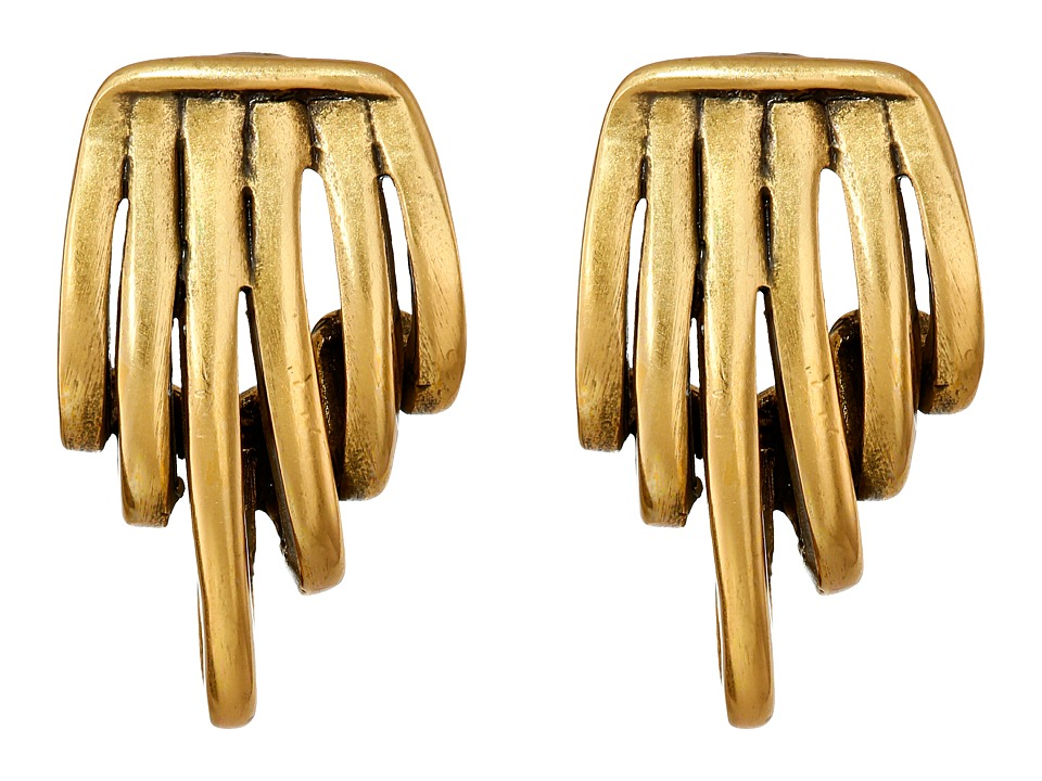 Oscar de la Renta - Curled Metal Button Earrings (Russian Gold) Earring