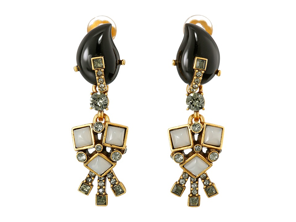 Oscar de la Renta - Resin Flower Earrings (Black) Earring