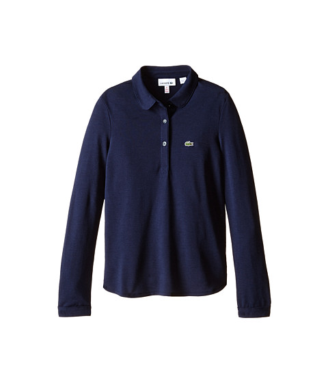 Lacoste Kids - Long Sleeve Fluid Pique Polo (Infant/Toddler/Little Kids/Big Kids) (Navy Blue) Girl's Long Sleeve Pullover