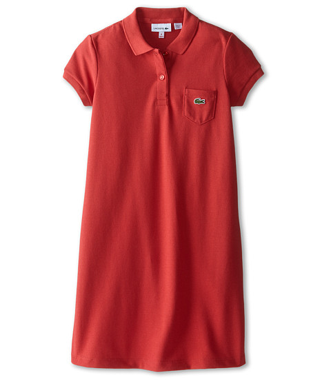 Lacoste Kids - Short Sleeve Classic Pique Polo Dress with Pocket (Infant/Toddler/Little Kids/Big Kids) (Goji Red) Girl
