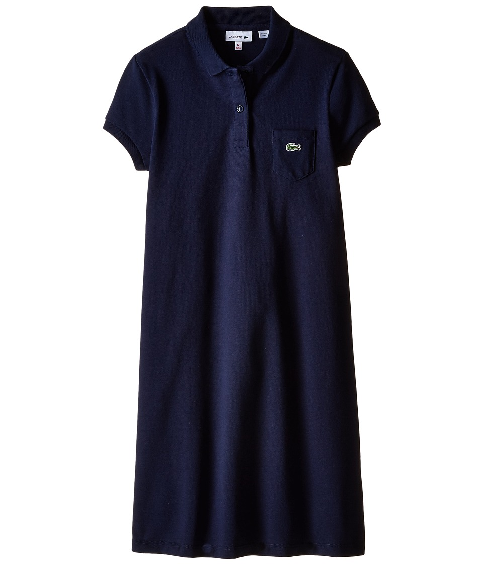 Lacoste Kids - Short Sleeve Classic Pique Polo Dress with Pocket (Infant/Toddler/Little Kids/Big Kids) (Navy Blue) Girl's Dress