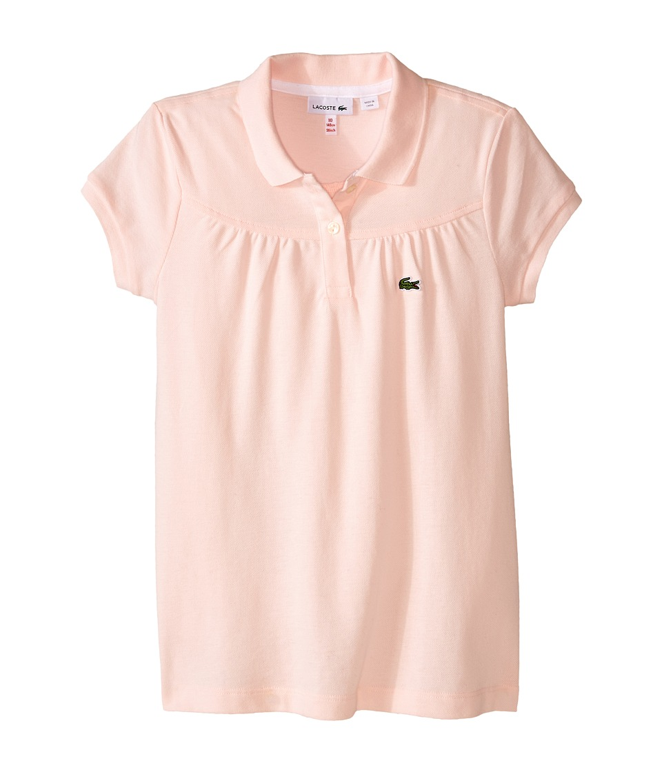 Lacoste Kids - Short Sleeve Classic Pique Polo with Gathering Detail (Infant/Toddler/Little Kids/Big Kids) (Flamingo/White) Girl's Short Sleeve Pullover