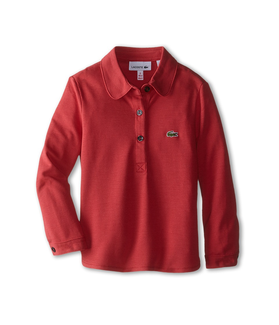 Lacoste Kids - Long Sleeve Fluid Pique Polo (Infant/Toddler/Little Kids/Big Kids) (Goji Red) Girl's Long Sleeve Pullover