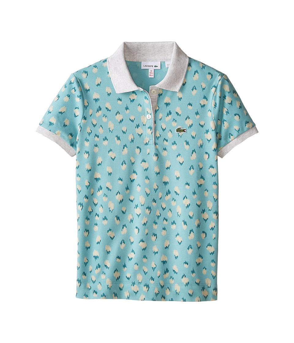Lacoste Kids - Short Sleeve All Over Leopard Print Polo (Toddler/Little Kids/Big Kids) (Thunder/Multicolor) Girl