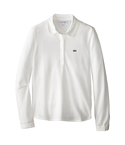 Lacoste Kids - Long Sleeve Fluid Pique Polo (Infant/Toddler/Little Kids/Big Kids) (Cake Flour White) Girl's Long Sleeve Pullover