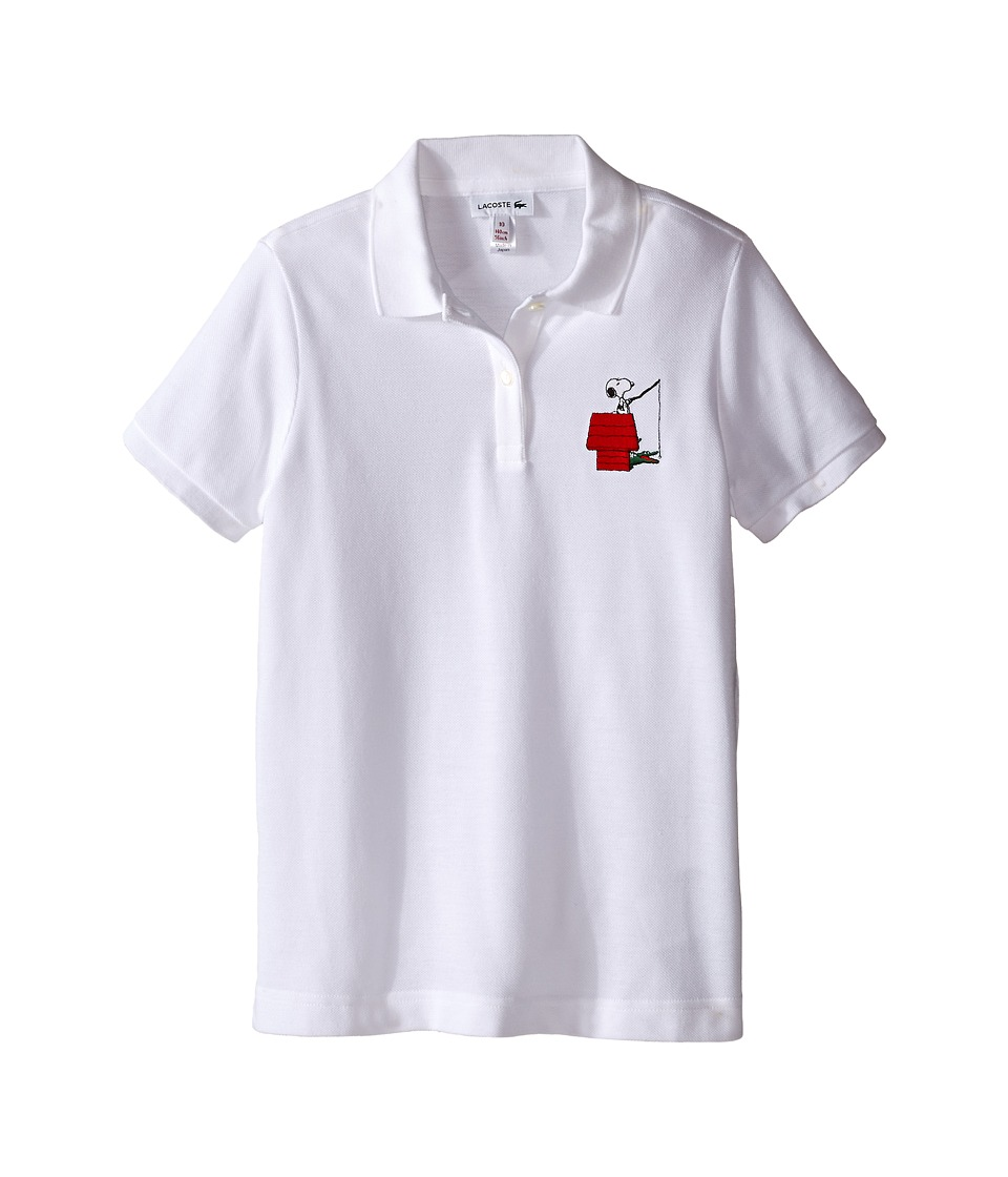 Lacoste Kids - Peanuts Snoopy Polo (Toddler/Little Kids/Big Kids) (White) Girl