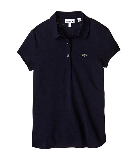 Lacoste Kids - Short Sleeve Fluid Pique Polo (Toddler/Little Kids/Big Kids) (Navy Blue) Girl's Short Sleeve Pullover