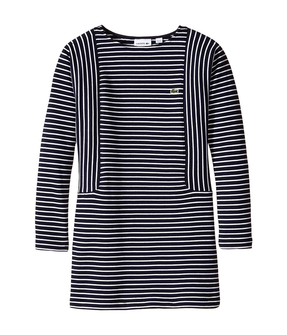 Lacoste Kids - Long Sleeve Multi-Directional Stripe Sweatshirt Dress (Toddler/Little Kids/Big Kids) (Navy Blue/White) Girl