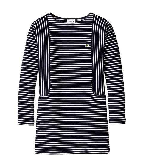 Lacoste Kids - Long Sleeve Multi-Directional Stripe Sweatshirt Dress (Toddler/Little Kids/Big Kids) (Navy Blue/White) Girl's Dress